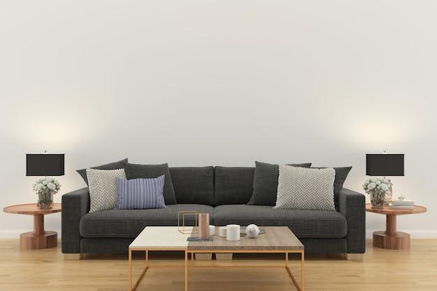 Il salone 3d interno rende la struttura di legno di progettazione della parete del pavimento di legno della lampada da tavolo grigia del sofà