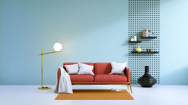 Il salone d'annata, il sofà rosso sul pavimento bianco e la parete blu-chiaro, 3d rendono
