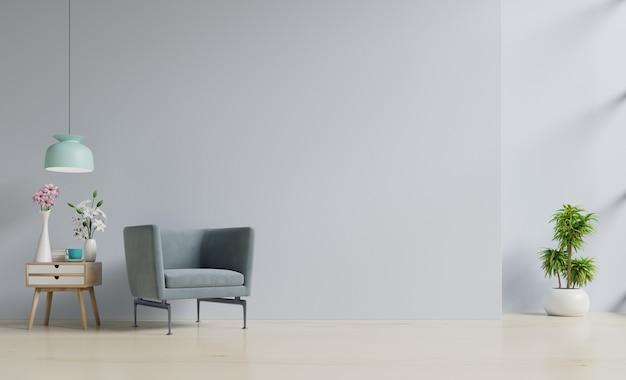 Il salotto moderno con la poltrona ha gabinetto e scaffali di legno su pavimentazione di legno e parete bianca