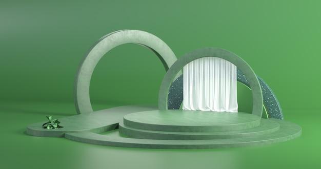 Il semplice concetto di design del podio con materiali concreti. rendering 3d.