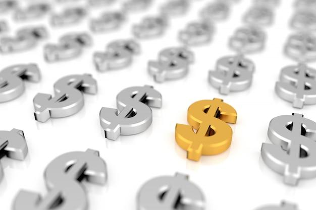 Il simbolo del dollaro dorato in mezzo ai segni del dollaro d'argento con soft focus tecnica