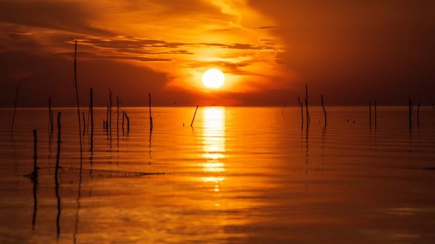 Il sole sul lago con la riflessione e la sagoma del ceppo