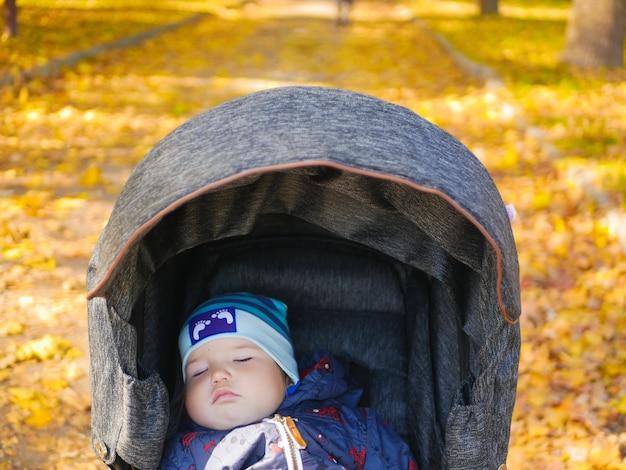 Il sonno di un bambino in un parco d'autunno.