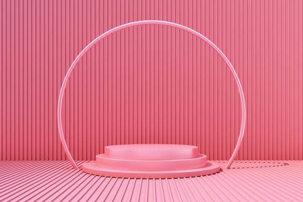 Il supporto del prodotto con il fondo rosa 3d della lamina di metallo rende