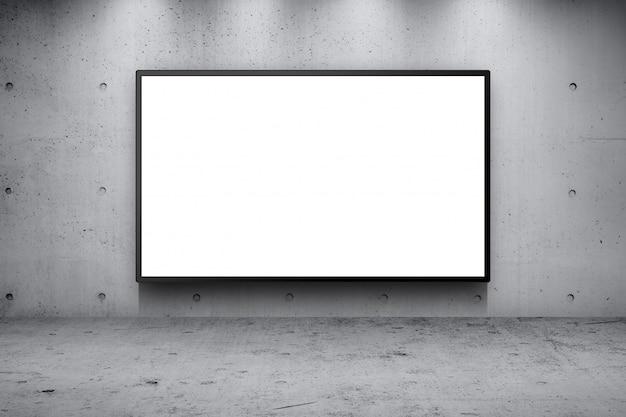 Il tabellone per le affissioni di pubblicità in bianco ha condotto il pannello sul fondo del bordo della strada della via della costruzione del muro di cemento