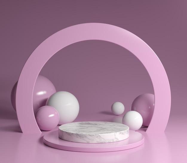 Il tema minimo rosa di marmo 3d del podio rende il fondo