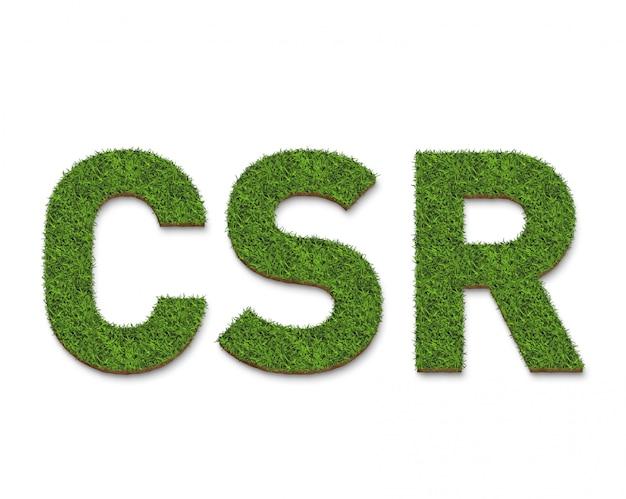 Il testo del csr dalla trama di erba verde