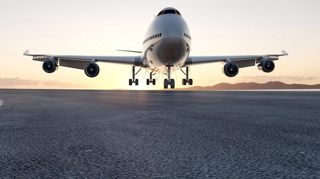 Il tramonto di atterraggio dell'aeroplano 3d, il concetto 3d rende per fare pubblicità. .