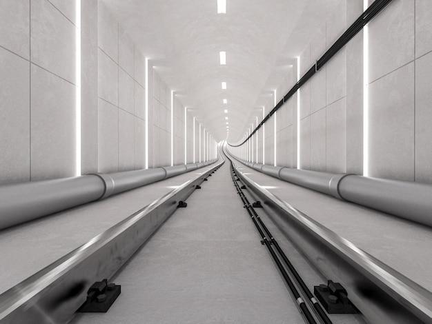 Il tunnel del sottopassaggio con la pista leggera e il concetto arrivante, 3d rendono.