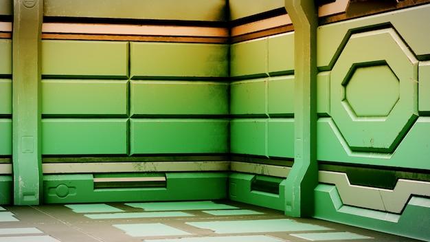 Il vecchio corridoio realistico di fantascienza dell'astronave, 3d rende.
