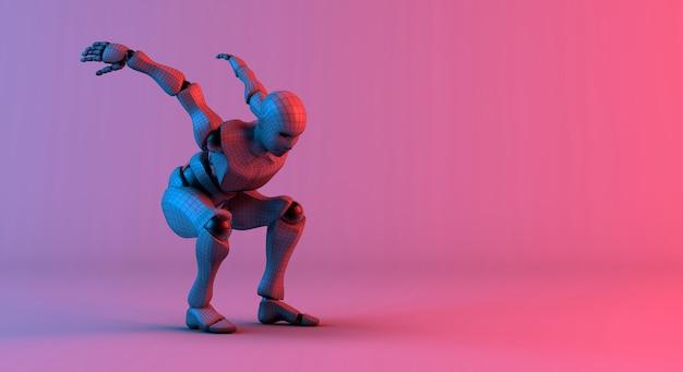Il wireframe del robot prepara il salto su fondo viola rosso pendenza