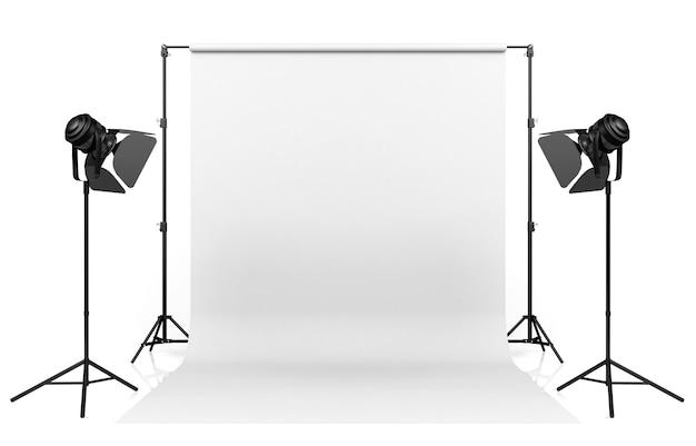 Illuminazione dello studio della foto installata con il contesto bianco su fondo bianco, rappresentazione 3d