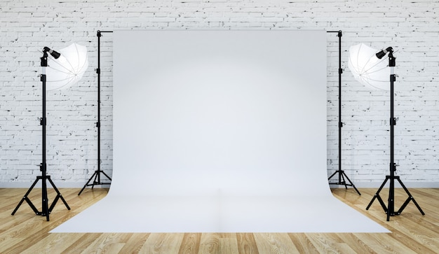 Illuminazione dello studio fotografico con sfondo bianco, rendering 3d