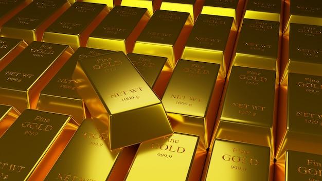 Illustartion 3d di lingotti d'oro 1000 grammi di oro puro