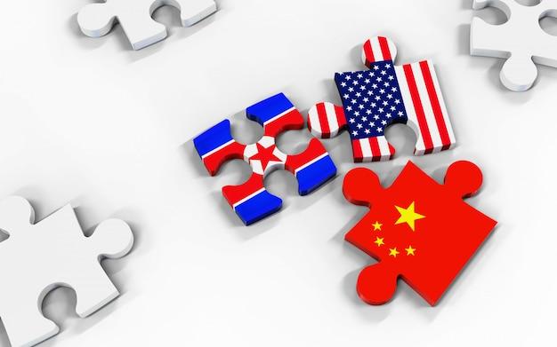 Illustrazione 3d bandiere usa, corea e cina su pezzi di puzzle.