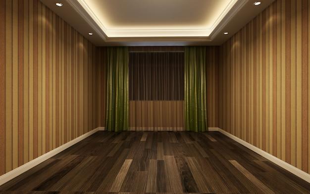 Illustrazione 3d bella camera calda e luminosa, decorata con pavimento in parquet e tende