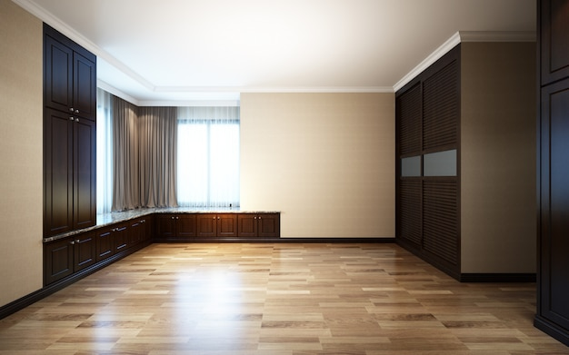 Illustrazione 3d bella sala luminosa con luce solare che passa