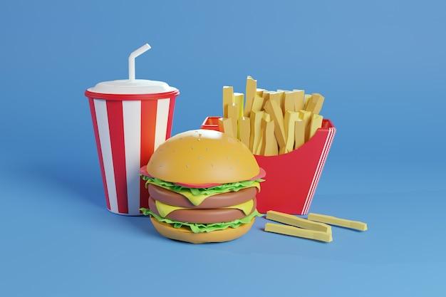 Illustrazione 3d burger con patatine fritte