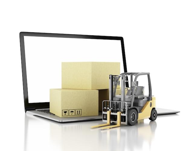 Illustrazione 3d carrello elevatore a forcale con scatole di cartone e pc portatile con schermo vuoto.