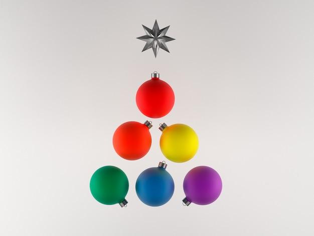 Illustrazione 3d, cartolina di natale, colori della bandiera di orgoglio delle palle dell'albero di natale