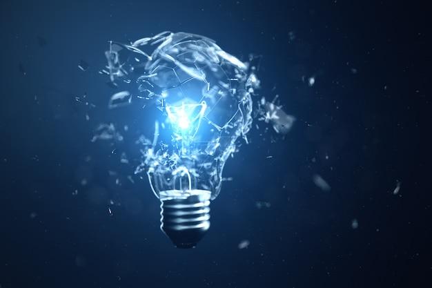 Illustrazione 3d che esplode lampadina su sfondo blu