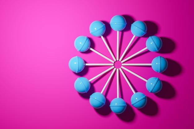 Illustrazione 3d con caramelle blu su sfondo rosa.