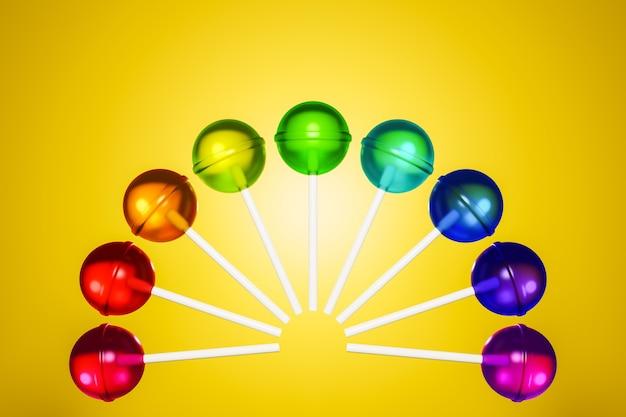 Illustrazione 3d con caramelle multicolori su giallo