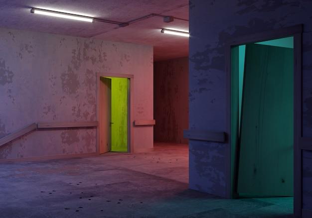 Illustrazione 3d. corridoio postapocalittico del laboratorio segreto.