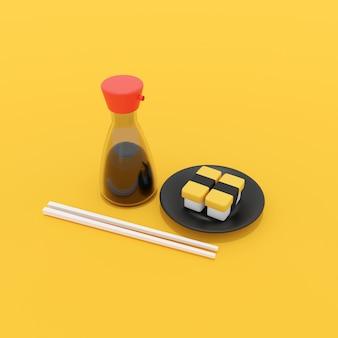 Illustrazione 3d dei sushi dell'uovo e della bottiglia della salsa di soia