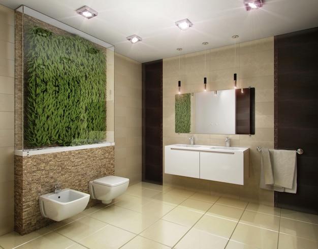 Illustrazione 3d del bagno nei toni del marrone