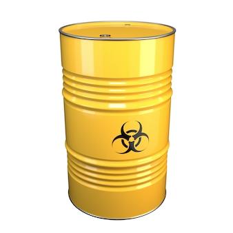 Illustrazione 3d del barile di acciaio giallo con materiale pericoloso e segno di pericolo batteriologico.
