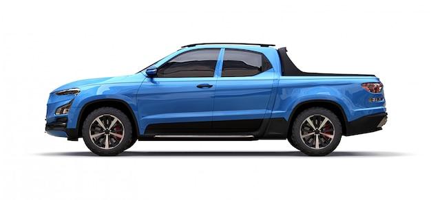 Illustrazione 3d del camioncino scoperto blu del carico di concetto su bianco isolato