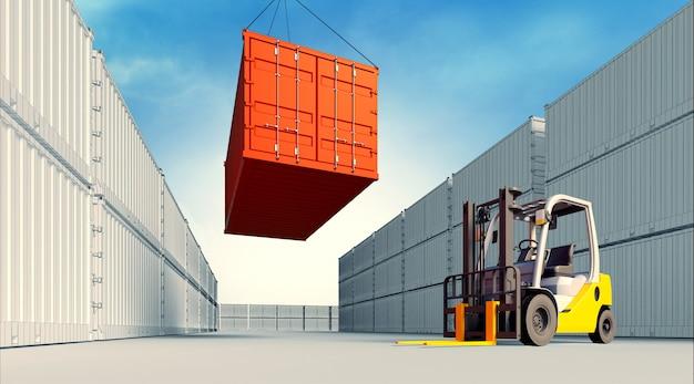 Illustrazione 3d del carrello elevatore con i contenitori