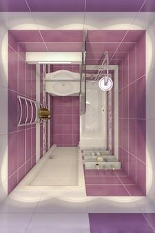 Illustrazione 3d del design di un bagno in viola