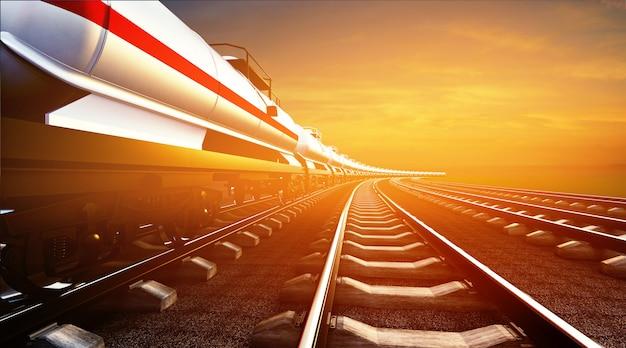 Illustrazione 3d del treno merci con cisterne dell'olio sullo sfondo del cielo