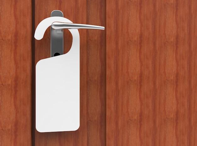 Illustrazione 3d dell'insegna di carta che appende su una maniglia della porta