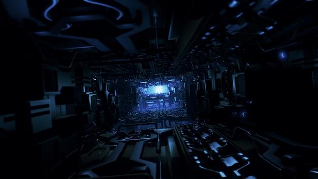Illustrazione 3d dell'interno futuristico dell'astronave di progettazione