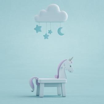 Illustrazione 3d dell'unicorno bianco del giocattolo sul pavimento di struttura concreta.