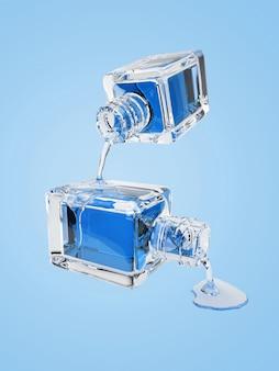 Illustrazione 3d della bottiglia di vetro cosmetica con le gocce blu trasparenti