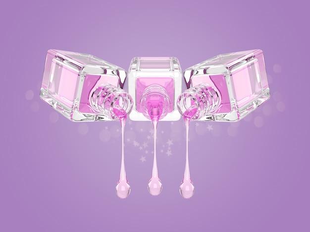 Illustrazione 3d della bottiglia di vetro cosmetica con le gocce rosa trasparenti