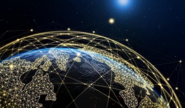 Illustrazione 3d della comunicazione creativa moderna globale e mappa della rete internet