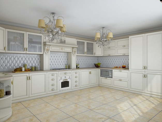 Illustrazione 3d della cucina bianca in stile classico