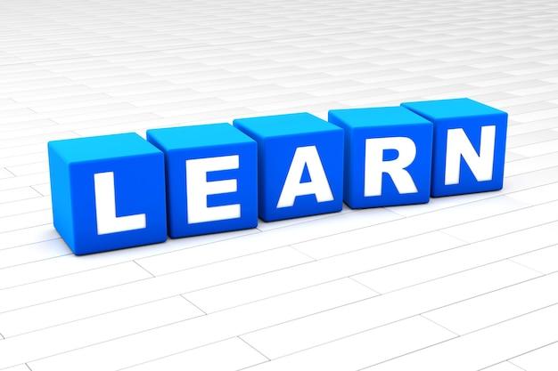 Illustrazione 3d della parola impara