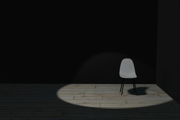 Illustrazione 3d della sedia nella stanza scura con il riflettore