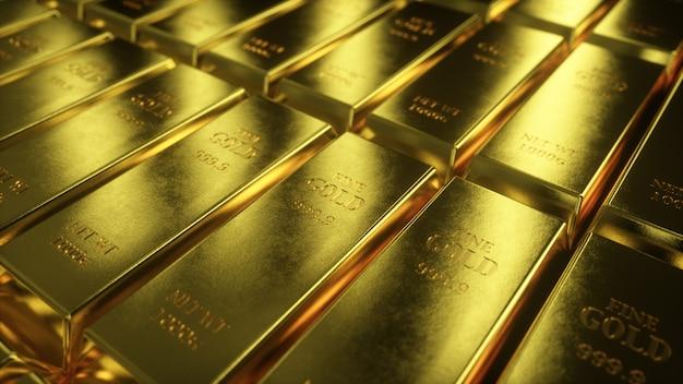 Illustrazione 3d della vista scorrevole della macchina fotografica sulle barre di oro