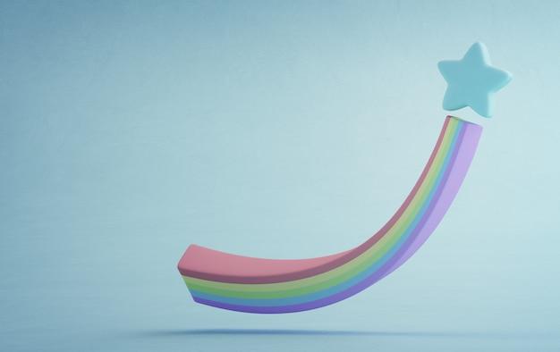 Illustrazione 3d di arcobaleno e forma a stella.