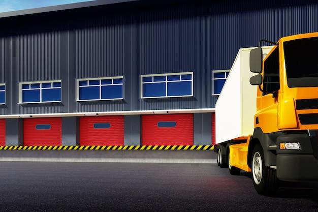 Illustrazione 3d di camion e magazzino