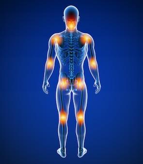 Illustrazione 3d di dolori articolari maschii anteriori