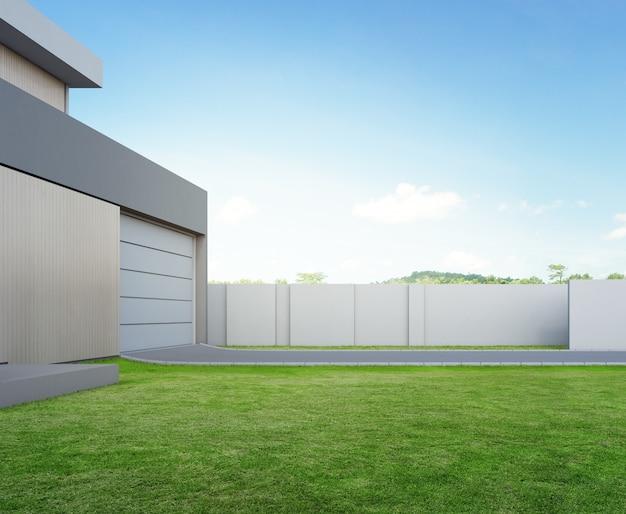 Illustrazione 3d di esterno dell'edificio residenziale.