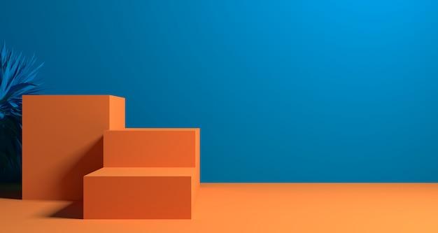 Illustrazione 3d di forma geometrica astratta di colore arancio & blu, esposizione o vetrina minimalista moderna del podio